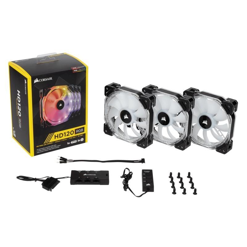 Ventilador Caixa CORSAIR HD120 SERIES LED RGB PWM 120MM TRIPLE PACK