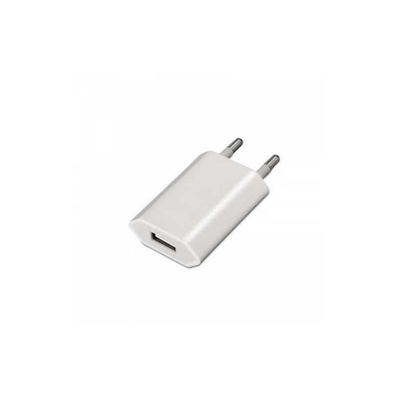 Mini Carregador USB para iPod, iPhone, 5V -1A - Branco