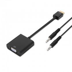 Conversor HDMI a SVGA + AUDIO HDMI/M-SVGA/H+3.5/H PRETO 10 CM+1.0M