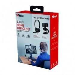 Pack 2 en 1 Trust Doba Home Office Set Webcam + Auriculares con Microfono