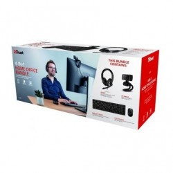 Pack 4 en 1 Trust Qoby  Webcam + Teclado + Raton Inalambrico + Auriculares con Microfono